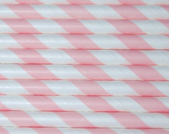 25 pack of pink and white stripe paper straws, party, christmas, birthday party, vintage / retro tea party.