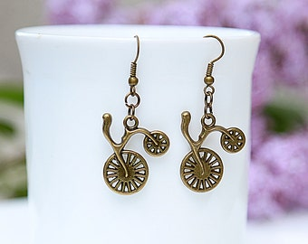 Bicycle Earring bike Earring Bicycle Brass Jewelry Retro Antiqued Bronze Earrings fixie jewelry Handmade Jewelry