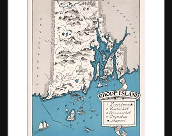 Rhode Island Map - Map of Rhode Island - State Map - Vintage Map - Poster - Print - Pictorial - Cartoon Map