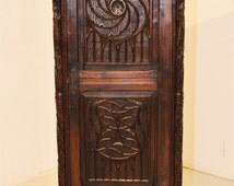 Antique French Gothic Cabinet RARE Narrow Model Plenty Storage #5403