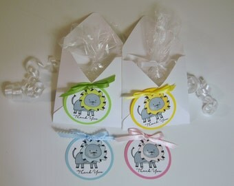 Baby shower Favors, 1st birthday party favors, lion party favors, pink, green, blue or yellow