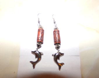 Dolphin earrings, with hook style tops