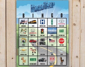 Road Trip Bingo Game with 10 unique Bingo cards - perfect for long road trips - Printable, DIY, INSTANT DOWNLOAD