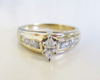 14k Yellow Gold Diamond Marquise Engagement Ring Signed LSC 12