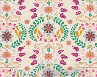 Woven Fabric - Embroidery's Fortune Rose - Fat Quarter Yard +