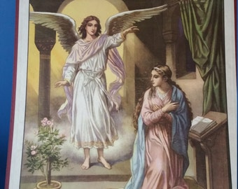 The angel Gabriel bringing Mary the glad tidings! Vintage 1950s Bible school chart religious wall décor