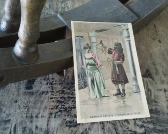 Antique postcard Samson and Dalila collectible brocante card