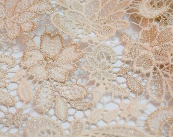 lUXURY cotton guipure lace with gold thread lace fabrics  cream guipure lace