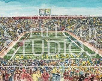 The Big House, Michigan, Michigan Football, Utah Football, watercolor print