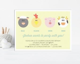 Barnyard Invitation, Barnyard Birthday Invitation, Farm Birthday Invitation, Farm Animal Birthday Invitation, Farm Animal Invitation, Yellow