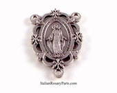 Miraculous Medal Rosary Center Set In Frame of Flowers | Italian Rosary Parts