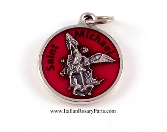 Saint Michael The Archangel Medal Red Enamel With Prayer| Italian Rosary Parts