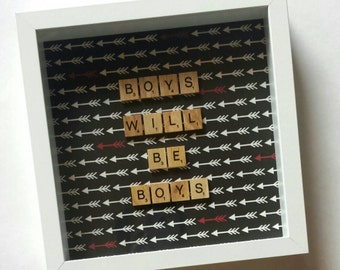 Personalised Scrabble Frame Wall Art Artwork Gift Present Nursery Decor Kid Boy Birthday