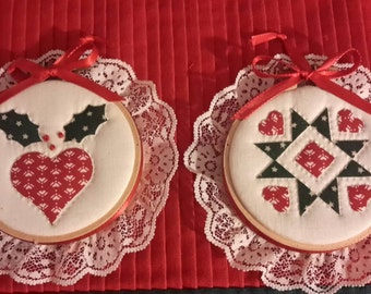 A pair of vintage handmade quilted christmas tree ornaments