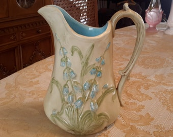 Vintage Ironstone Bisque Colored Pitcher with blue flowers shabby chic cottage chic summer decor kitchen decor, light blue, romantic decor .