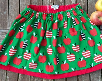 Apple print skirt, twirly green and red organic cotton cord skirt, sweet retro girls skirt, gathered waist, red cotton underskirt 3-4 years