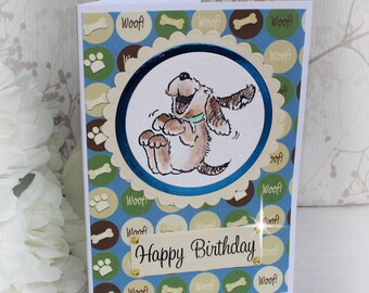 Happy Birthday Greetings Card. For Dog Lovers. Handmade and Hand Painted. Fun Dog Card. Cards for him, Cards for Her.
