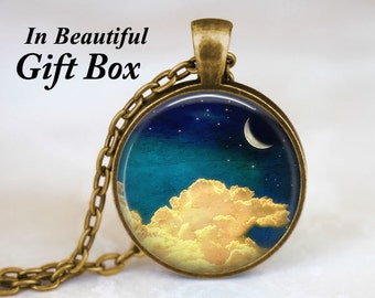 Crescent Moon Necklace • Moon And Star Necklace • Night Sky • Moon Jewelry