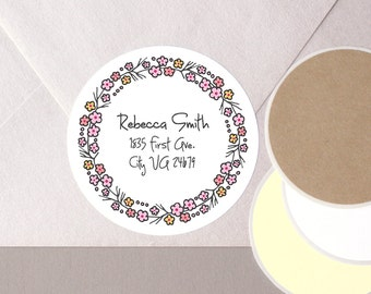 "return address CHERRY BLOSSOM pink flower floral wreath sakura label stickers personalized round 12 large 2.5"" or 20 medium 2"" envelope seal"