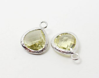 G002215/Citrine/Rhodium plated over brass/Small teardrop faceted glass Pendant/11x13mm/2pcs