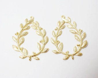 P0166/Anti-Tarnished Matte Gold Plating Over Brass/Laurel Crown Pendant Connector /25x29.2mm/2pcs