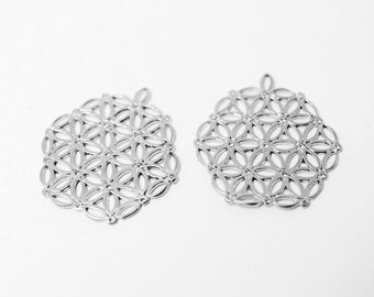 P0317/Anti-Tarnished Matte Rhodium Plating Over Brass/Hexagon Shape Mosaic Pendant/21x24mm/2pcs