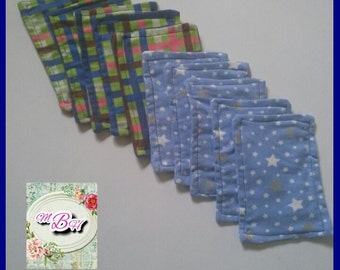 Starter set, 10 reusable flannel wipes, cloth wipes, family cloth, reusable tp, toilet paper, bathroom tissue, boogie wipes, custom