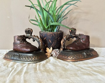 Vintage Baby Shoe Bookends / Vintage Bookends 'Joseph' Engraved / Bronze Baby Shoe Bookends