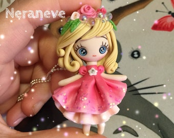 Polymer clay fairy necklace