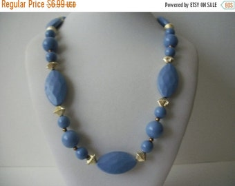 ON SALE Vintage Periwinkle Gold Plastic Beads Necklace 1596