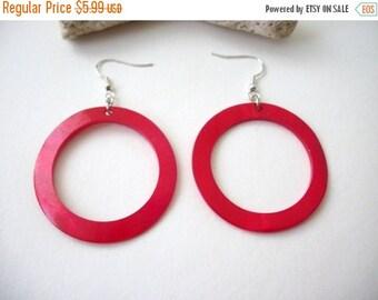 ON SALE Vintage Shell Dyed Vibrant Red Big Hoop Earrings 60816