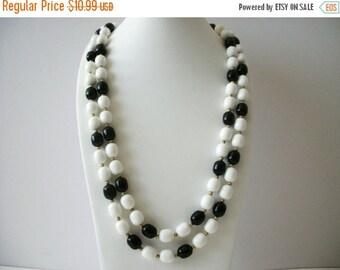 ON SALE Vintage MARVELLA Signed Black White Gold Necklace 8916