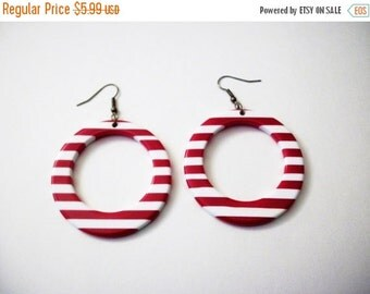 ON SALE Retro 1960s Over Sized Red White Earrings 8916