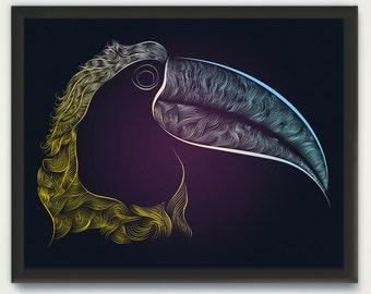 Bird Print, Line Drawing Bird Art, Woodlands Art Printable, Animal Print, Bird Drawing Print, Line Drawing Modern Art, Hand Drawn Bird Print