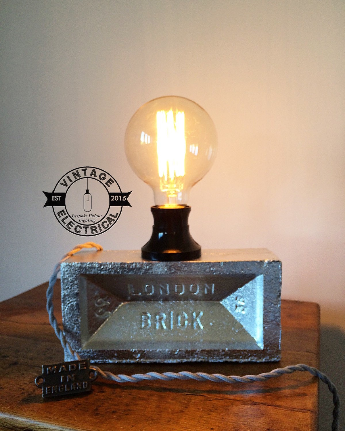 London Brick Light Silver Industrial Edison Lamp Bulb