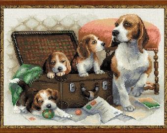 Cross Stitch Kit by Riolis - Dog Family