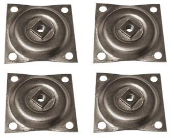 "1/4""-20 Furniture Metal Straight Leg Mounting 2"" x 2"" T-Plates - Set of 4"