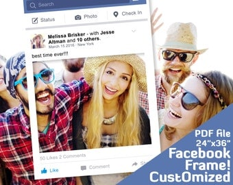 """Facebook frame photo booth props. Facebook Photobooth, Costomized 24""""x36"""" party decor, Printable PDF file"""