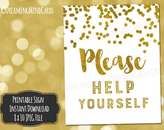 Printable Please Help Yourself Sign 8x10 Buffet Table Bar Decor Gold Confetti Wedding Bridal Shower Baby Shower Birthday Digital Download