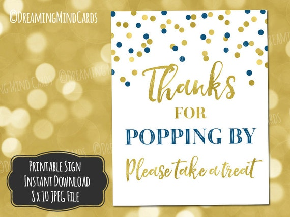 printable thanks for popping by popcorn bar sign 8x10 navy