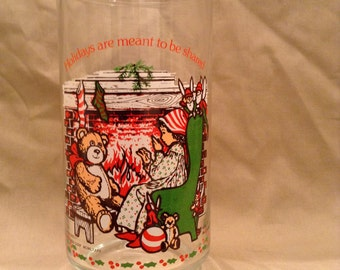 """Adorable Vintage 1982 Holly Hobbie Christmas Coca-Cola Glass titled """"Holly Telling A Story"""" - American Greeting Corp."""