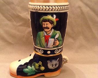 Vintage Werner Corzelius Boot Shaped Beer Stein made in West Germany - markings 7400 - 1/4
