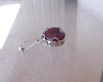 Hand made Sterling Silver Ruby Necklace Pendant