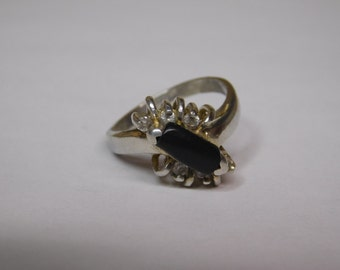 Vintage Handmade Sterling Silver Onyx & CZ Ring ( Size 7 )