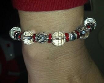 Red Rhinestone and Clear Glass Bead Stretch Bracelet