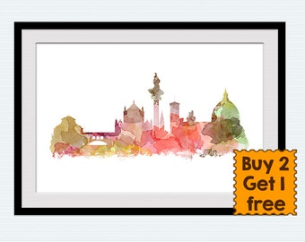 Florence skyline Florence Italy cityscape art print Travel art poster Florence watercolor decor Home decoration Living room wall decor W761