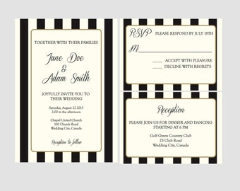 Printable Stripe Wedding Invitation Suite - DIY Printable
