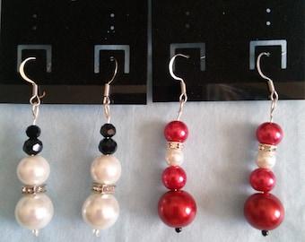 Snowman & Santa Pearl Earrings