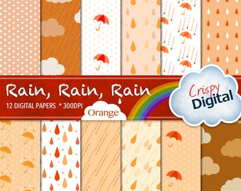 Rain Drops, Polka Dots, Clouds and Umbrellas Digital Papers Orange and Brown 12pcs 300dpi Digital Download Scrapbooking Printable Paper