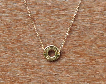 Dainty Bullet Necklace, bullet necklace, 14k gold filled chain, ammo necklace
